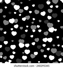 Valentines Day heart-shaped snowflakes pattern.