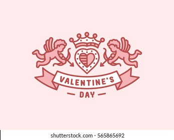 Valentines day - heraldry emblem, illustration line style - cupids with onions fly near the heart with a crown.