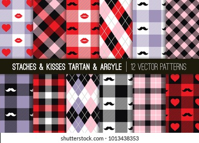 Valentine's Day Hipster Style Tartan and Argyle Vector Patterns in Pastel Violet, Pink, Black and Red Hearts, Lips and Mustaches. Kisses & Staches Playful Backgrounds. Pattern Tile Swatches Included.