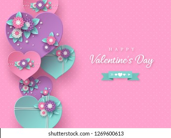 Valentines day holiday banner. 3d paper cut purple, pink and turquoise hearts with flowers on spotted background. Vector illustration.