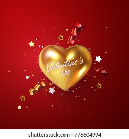 Valentines day holiday decoration. Golden realistic heart with confetti glittering particles, gold stars and streamer ribbons. 3d vector illustration of metallic heart shape and tinsel. Festive sign