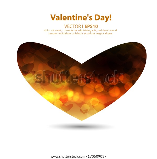 Valentine's day holiday. Golden heart on a white background. Vector EPS 10 illustration.