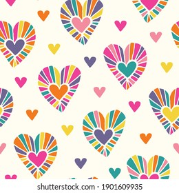 Valentine's Day Holiday Hand-Drawn Doodle Psychedelic Colorful Hearts on Cream Background Vector Seamless Pattern. Retro Bright Whimsical Feminine Print for Fashion, Packaging, Wrapping