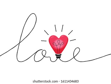 Valentine's Day Holiday Lettering with Word Love Made with Intertwined Heart Shape String Lights Cord. Heart Bulb Hand Drawn Calligraphy. Cute Festive Love Background. Girly Print
