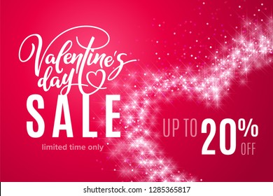 Valentine's day holiday sale 20 percent off with heart of shiny glitter on red background. Limited time only. Template for a banner, poster, shopping, discount. Vector illustration for your design