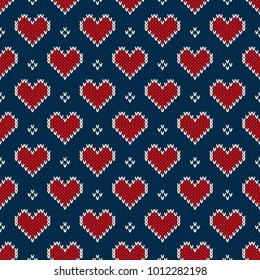 Valentine's Day Holiday Seamless Knit Pattern with Hearts. Scheme for Knitted Sweater Pattern Design or Cross Stitch Embroidery