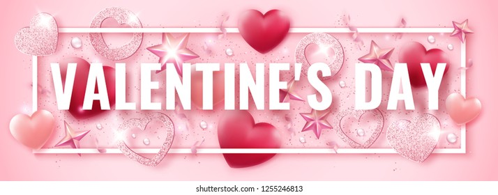 Valentines Day horizontal banner with shining pink hearts, ribbons, stars and colorful balls. Holiday card illustration on light background