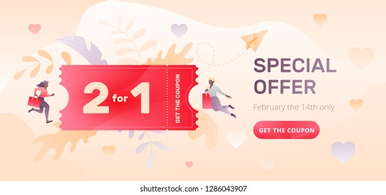 Valentine's day horizontal beige sale promotional banner with Special Offer words, 2 for 1 coupon, two tiny people characters and call-to-action  button.