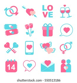 Valentine's day icon set vector and illustration