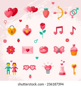 Valentine's day icons elements collection. Vector illustration. Love concept symbols. Cupid bow, gender sign, couple, sweet cupcake letter, poison.