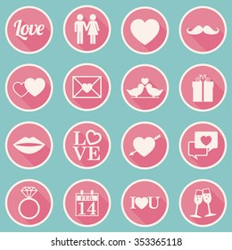 Valentines Day Icons  Set - flat design - vector eps10