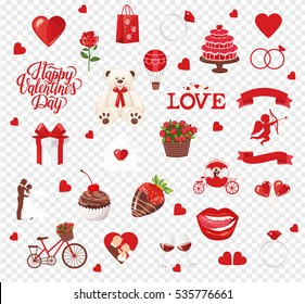 Valentine's Day Icons: teddy bear, letter, ring with a diamond, sweetmeats, glasses of wine, heart, rose, cupcake, strawberry in chocolate and gift. Vector illustration.