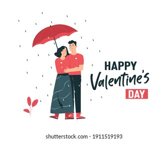 Valentine's Day: illustration of a couple carrying an umbrella on Valentine's Day