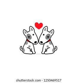 Valentine's day illustration. Couple terrier dog in love.