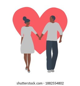 Valentine's day illustration. Couple is walking holding hands. Young black man and young black woman on a red heart background. Romantic greeting card. Vector illustration