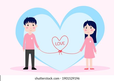 valentine's day Illustration with cute little girl, boy and hearts