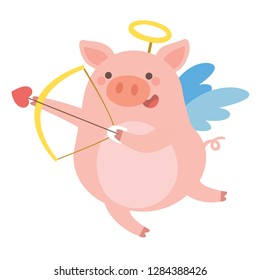 Valentine's Day illustration of Cute Pig cupid shoots a bow on White background.