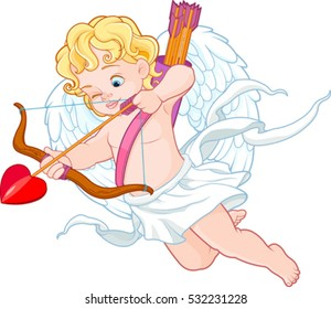Valentine's Day illustration of funny cupid with bow and arrow aiming at someone