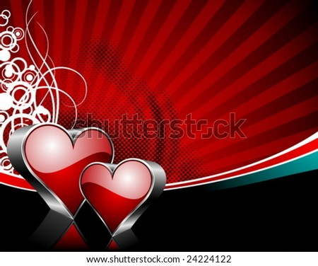 Valentines Day Illustration Glossy Heart Symbols Stock Vector