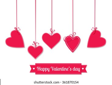 Valentines day illustration. Hanging red hearts tied with bows and ribbon with lettering on white background.