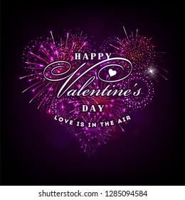 Valentine's day illustration with heart shape fireworks