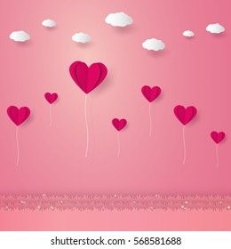 Valentines day , Illustration of love , Heart balloons flying over grass with clouds , paper art style