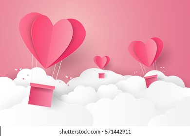 Valentines day , Illustration of love , Hot air balloon in a heart shape flying on sky , paper art style