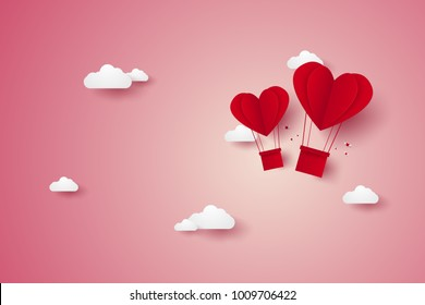 Valentines day, Illustration of love, red heart hot air balloons flying in the sky, paper art style