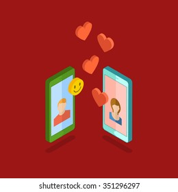 Valentine's day illustration. Receiving or sending love emails for valentines day, long distance relationship. Isometric phones with hearts. Flat design, vector illustration