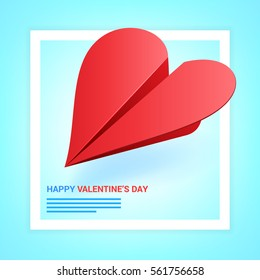 Valentines day illustration. Red paper plane shaped of heart on blue background. Love message concept. Vector.