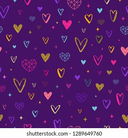 Valentines day illustration. Seamless hearts pattern. Valentines background. Hand drawn hearts pattern background. Vector illustration.