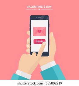 Valentine's day illustration. Send or receive love sms, letter, email with mobile phone. Human hand hold cellphone isolated on pink background. Envelope with red heart. Flat design, vector icon.