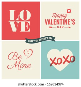 Valentines day illustrations and typography elements
