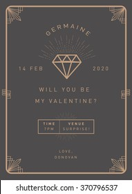 valentine's day invitation card template vector/illustration