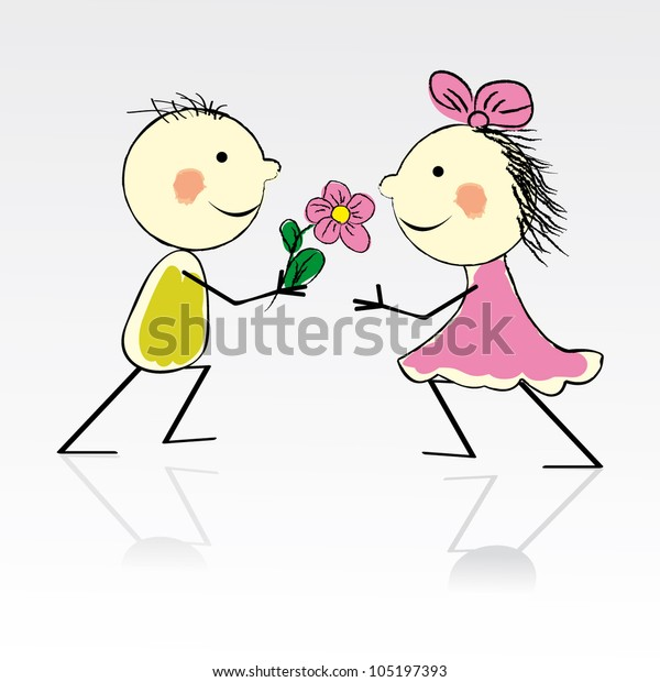 Valentines Day Kiss Cartoon Romantic People Stock Vector (Royalty