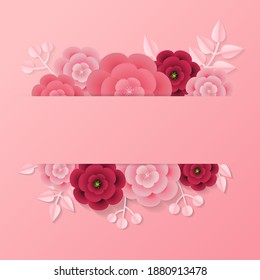 Valentine's day label with empty space for text template decorated with paper style leaf and flower. Realistic pink vector design.