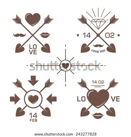 Valentines Day Labels Crossed Arrows Elements Stock Vector Royalty