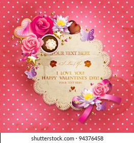 Valentine`s Day lacy frame for your text decorated with  sweets, cupcakes, cookies roses and golden beads.