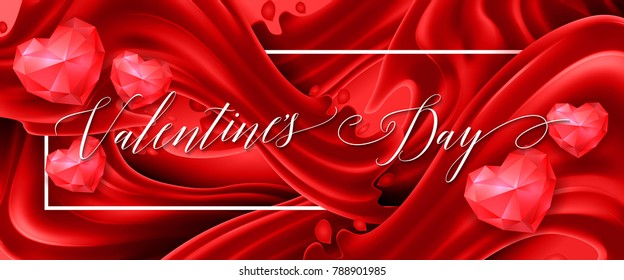 Valentines Day Lettering Red Banner