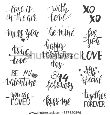 valentines day lettering templates modern hand stock vector royalty