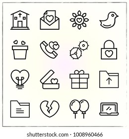 Valentine's Day line icons set flower and pot
