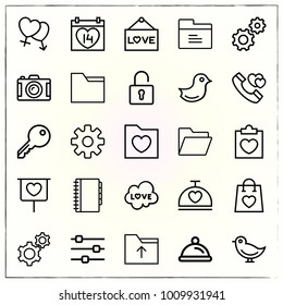 Valentine's Day line icons set love cloud and valentines day