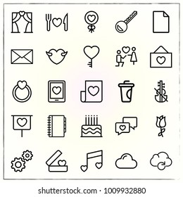 Valentine's Day line icons set cloud and chat