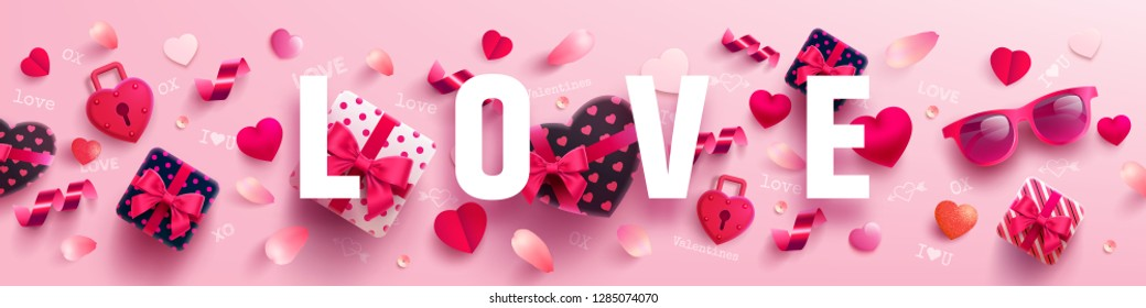 Valentine's Day and Love banner with sweet gift,sweet heart and lovely items on pink background.Promotion and shopping template or background for Love and Valentine's day concept.Vector EPS10