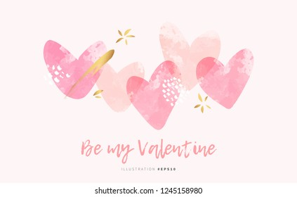 Valentine's day love beautiful background with pink watercolor hearts and gold stars vector design for modern greeting card or fashion print template.