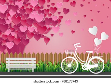 Valentine's Day Love Concept There are bicycles on the street and balloons tied. There are green grass along the long roads and trees with no pink heart. Pink sky Beautiful nature. Vector illustration