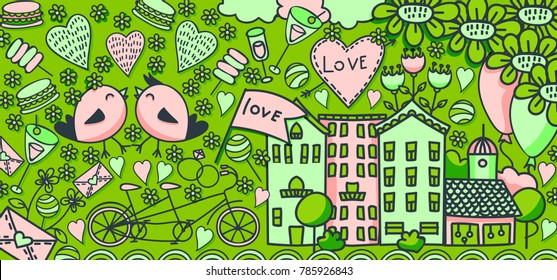 Valentine's Day or Love doodle banner template for web, flyer, broshure. Cartoon colorful vector hand drawn illustration. Ideal for wedding print design