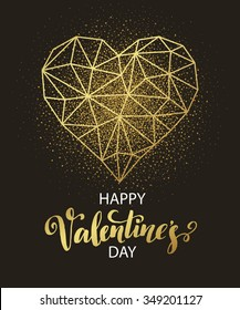 Valentines day love greeting card with geometric heart shape. Vector illustration EPS10