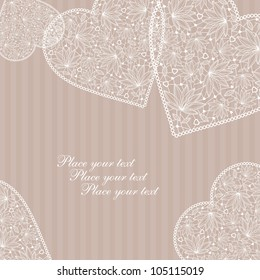 Valentine's Day Love & Hearts card with lace hearts