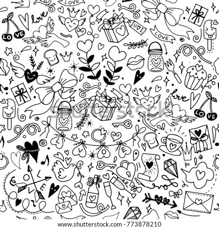 Valentines Day Love Hearts Doodles Design Stock Vector Royalty Free